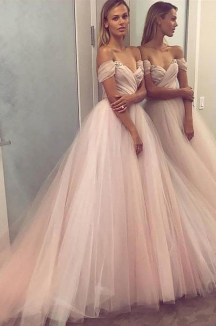 Crystal Off-the-Shoulder Prom Dresses Ruffle Sheer Sleeveless Sexy Evening Dresses
