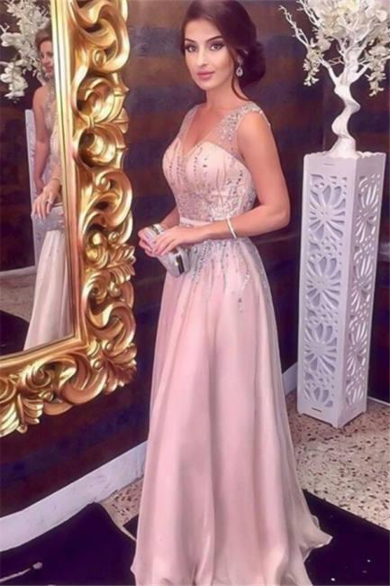 Chic Pink Sequins V-Neck Prom Dresses Sleeveless Sexy Evening Dresses with Belt Cheap