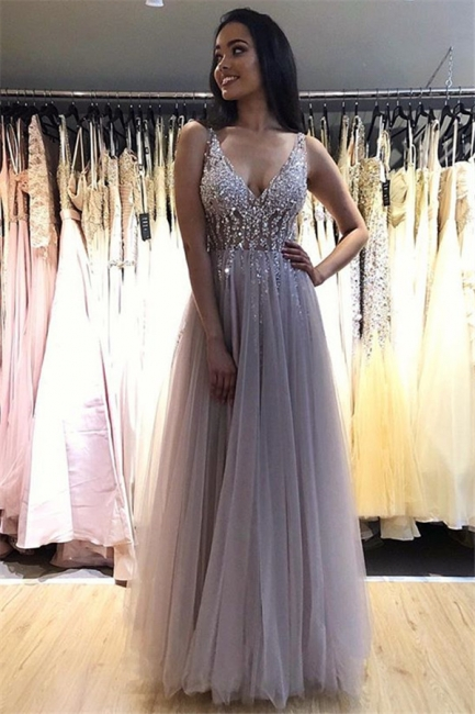V-Neck Crystal Open Back Prom Dresses Tulle Cheap Sleeveless Sexy Evening Dresses