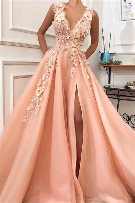 Straps V Neck Applique A Line Prom Dresses | Front Slit Sleeeveless Evening Dresses