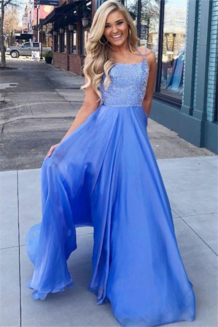 Gorgeous Blue Sequins Halter Prom Dresses Sleeveless Cheap Sexy Evening Dresses