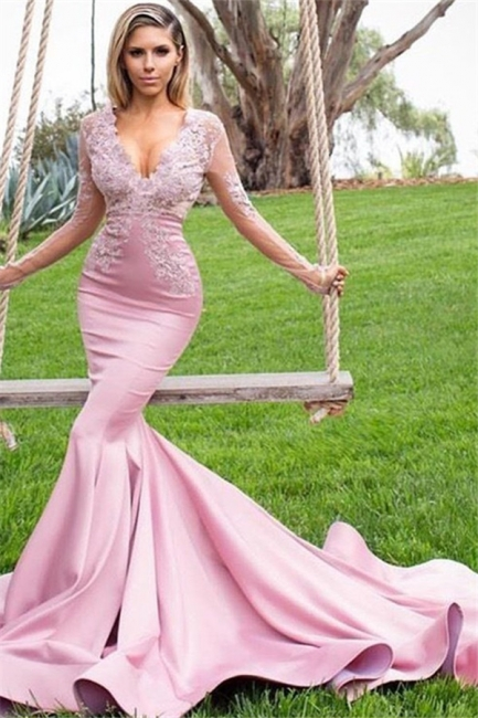 Chic Pink V-Neck Long Sleeves Prom Dresses Applique Mermaid Ruffles Sexy Evening Dresses