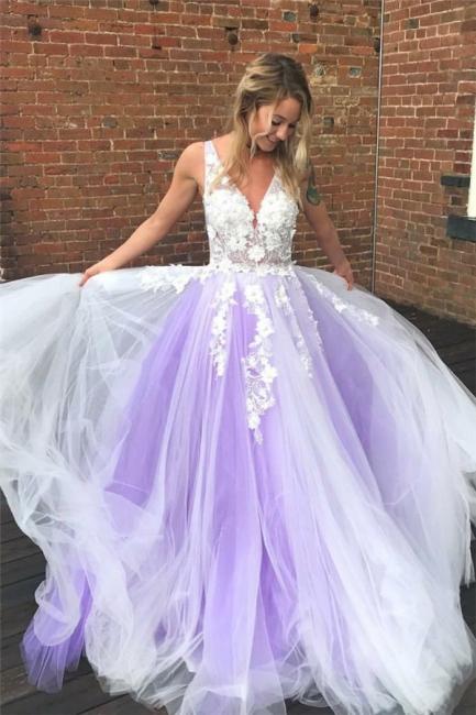 Applique V-Neck Prom Dresses Sheer Sleeveless Sexy Evening Dresses