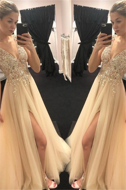 Chic Spaghetti Strap Sequins Crystal Prom Dresses Tulle Side Slit Sleeveless Sexy Evening Dresses