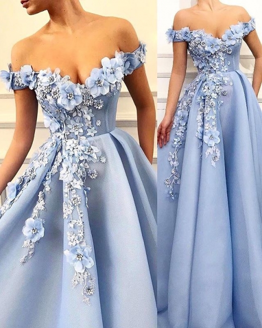 Off The Shoulder Applique Sweetheart A Line Prom Dresses | Sleeveless Beaded Cheap Evening Dresses