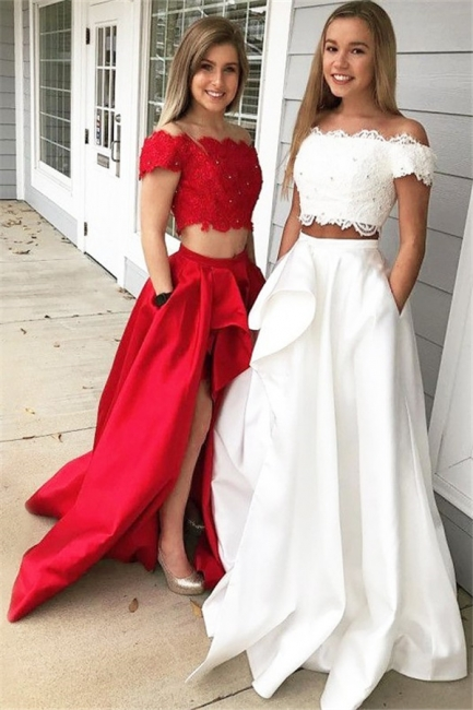 Chic Off-the-shoulder Two Piece Ruffles Prom Dresses Beads Lace Side Slit Sexy Evening Dresses with Pocket