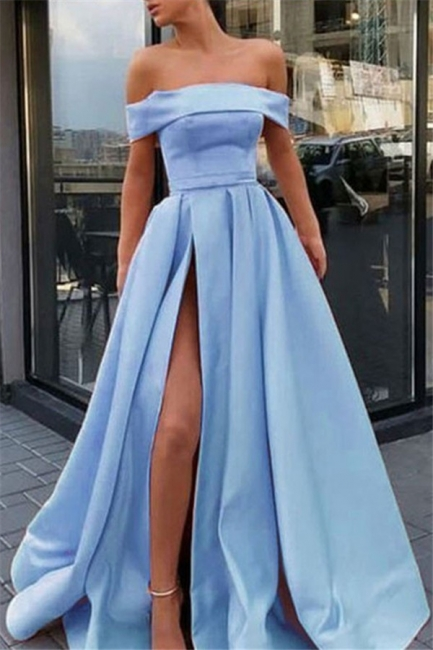 Chic Off-the-Shoulder Ruffles Prom Dresses Side Slit Sleeveless Sexy Evening Dresses Cheap