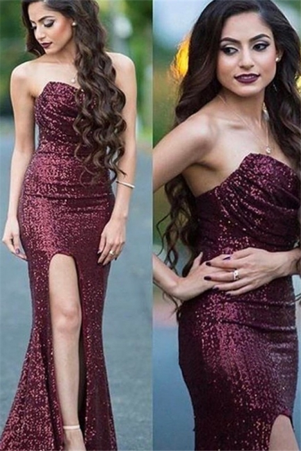 Burgundy Sequins Sweetheart Prom Dresses Mermaid Ruffles Sexy Evening Dresses