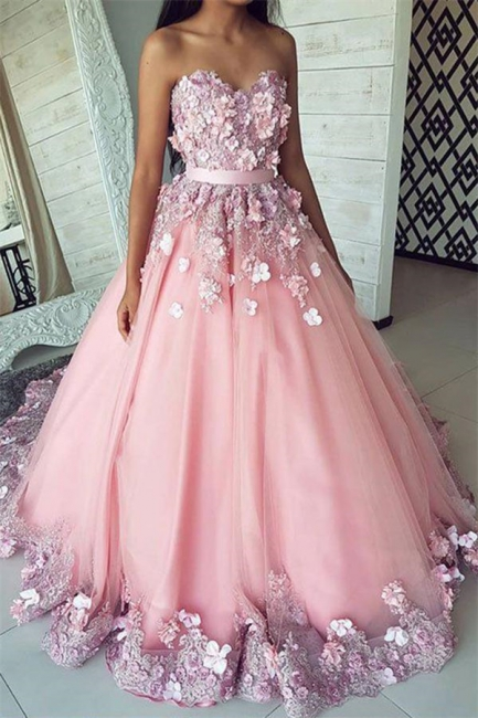 Romactic Pink Flower Sweetheart Applique Prom Dresses Ribbons Ball Gown Sleeveless Sexy Evening Dresses with Beads
