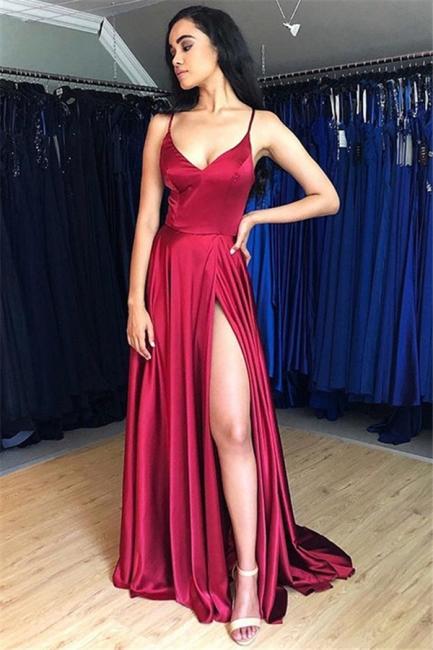 Spaghetti Strap Lace Up Prom Dresses Side Slit Sleeveless Sexy Evening Dresses