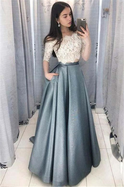 Chic Applique Off-the-Shoulder Prom Dresses Two Piece Sleeveless Sexy Evening Dresses with Pocket