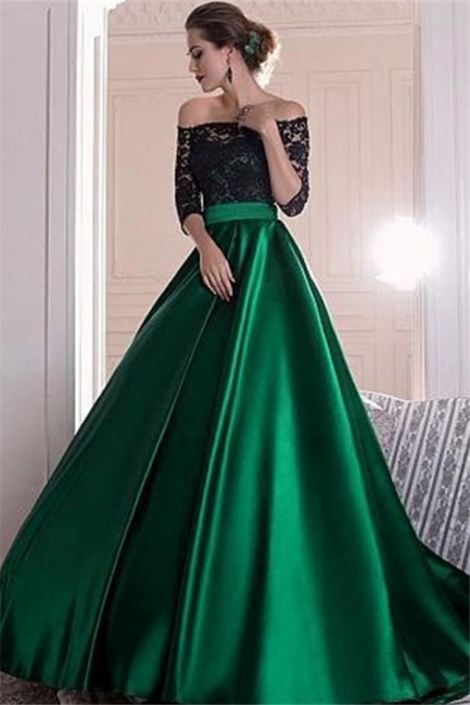 Gorgeous Black Lace Long Sleeves Prom Dresses Bateau Sexy Evening Dresses Cheap