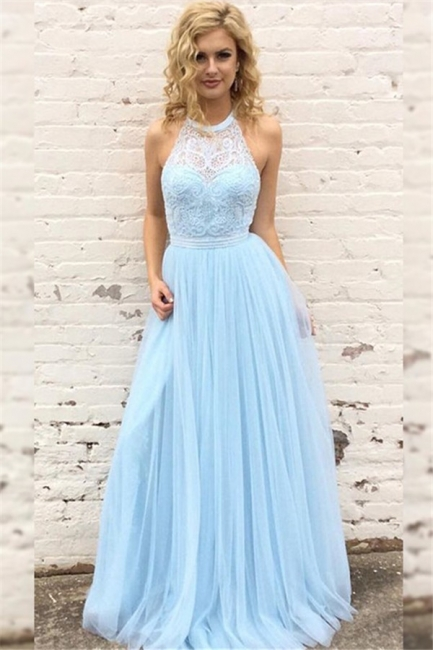 Chic Lace Halter Prom Dresses Sleeveless Tulle Sexy Evening Dresses with Belt Cheap