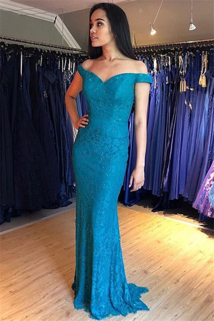 Chic Off-the-Shoulder Lace Prom Dresses Mermaid Sleeveless Sexy Evening Dresses with Beads