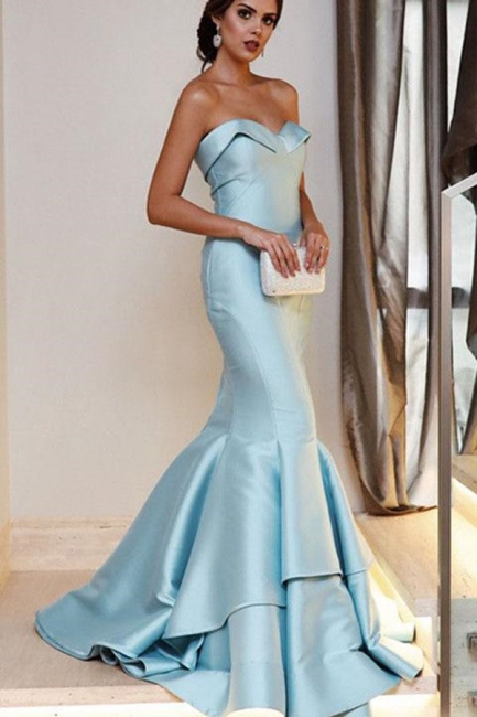 Sequin Ruffle Sweetheart Prom Dresses Cheap Mermaid Sleeveless Sexy Evening Dresses