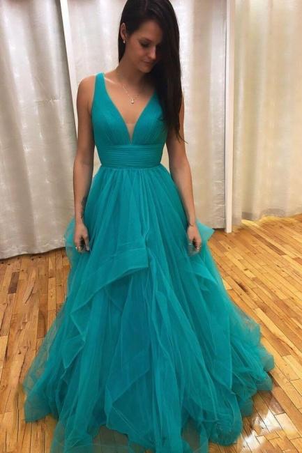 Chic Ruffles V-Neck Prom Dresses Sheer Sleeveless Sexy Evening Dresses