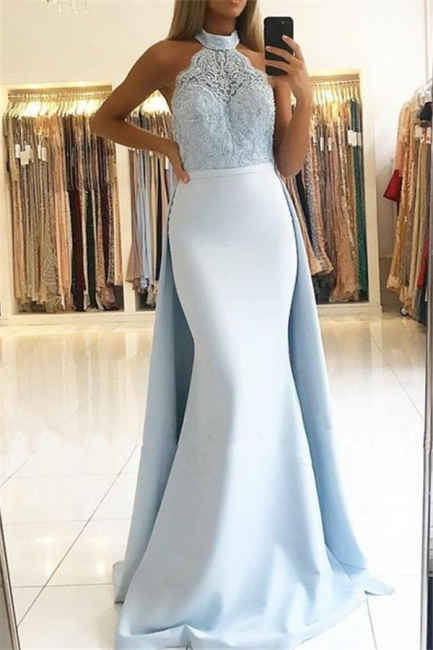Chic Lace Over Skirt Halter Prom Dresses Mermaid Cheap Sleeveless Sexy Evening Dresses