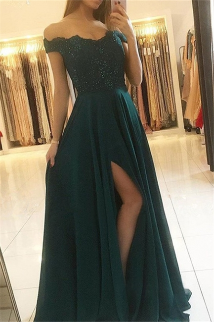 Chic Off-the-Shoulder Sleeveless Prom Dresses Side Slit Cheap Sexy Evening Dresses with Beads