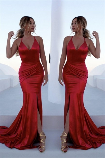 Chic Red Halter Lace Up Prom Dresses Sleeveless Ruffles Mermaid Side Slit Sexy Evening Dresses