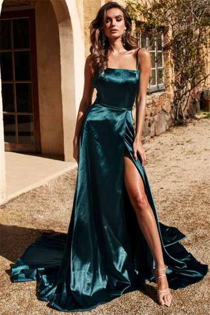 Chic Spaghetti Strap Prom Dresses Side Slit Sleeveless Sexy Evening Dresses