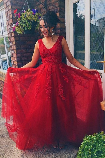 Red Jewel Applique Sleeveless Prom Dresses Tulle Sexy Evening Dresses with Beads