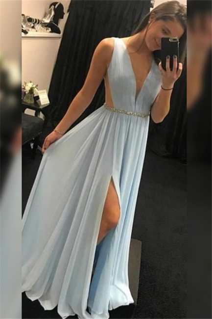 V-Neck Sequins Sleeveless Prom Dresses Side Slit Sexy Evening Dresses with Belt
