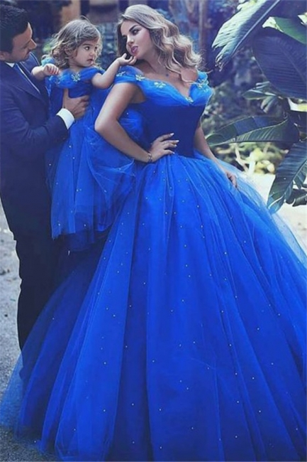 Gorgeous Off-the-Shoulder Flower Prom Dresses Sleeveless Tulle Ball Gown Sexy Evening Dresses wit Beads
