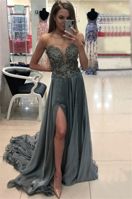Chic Jewel Applique Ruffles Prom Dresses Sleeveless Side Slit Sexy Evening Dresses with Beads