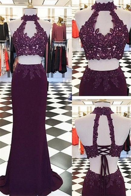 Halter Appliques Beads Lace-Up Prom Dresses High Neck Sleeveless Sexy Evening Dresses