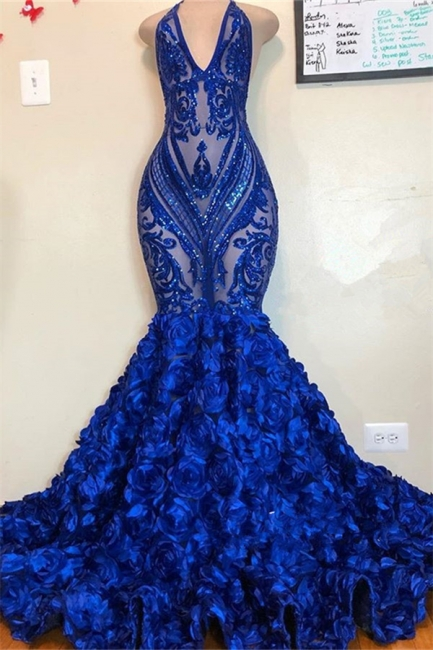 Royal Blue Halter V Neck Lace Sequined Mermaid Prom Dresses With Flowers