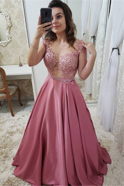 Romactic Pink Off-the-Shoulder Applique Prom Dresses Sleeveless Sexy Evening Dresses with Crystal