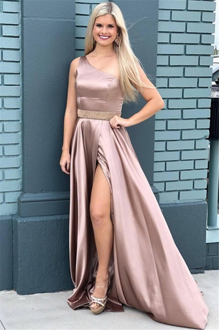 Chic One-Shoulder Beads Prom Dresses Side Slit Sleeveless Sexy Evening Dresses with Belt