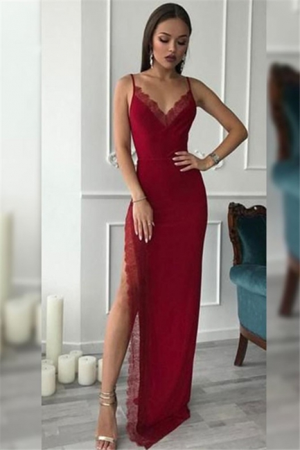 Spaghetti Strap Lace Prom Dresses Side Slit Sleeveless Sexy Evening Dresses
