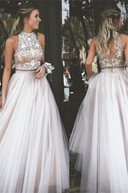 High Neck Two Pieces Prom Dresses Sleeveless Open back Crystal Sexy Evening Gowns