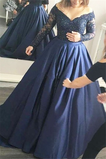 Applique Lace Off-the-Shoulder  Prom Dresses Plus Size Long Sleeves Sexy Evening Dresses Cheap