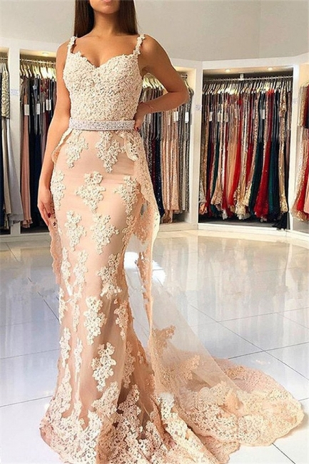 Lace Spaghetti Strap Mermaid Prom Dresses Cheap Sleeveless Sexy Evening Dresses with Over-skirt