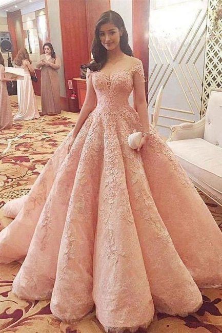 Chic Sequins Off-the-Shoulder Applique Prom Dresses Ball Gown Cap Sleeves Sexy Evening Dresses