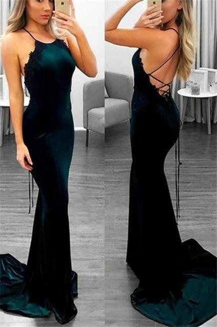 Lace Up Halter Applique Sleeveless Prom Dresses Mermaid Cheap Popular Sexy Evening Dresses