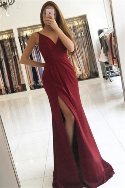 Chic V-Neck Ruffles Mermaid Prom Dresses Side Slit Sleeveless Cheap Sexy Evening Dresses