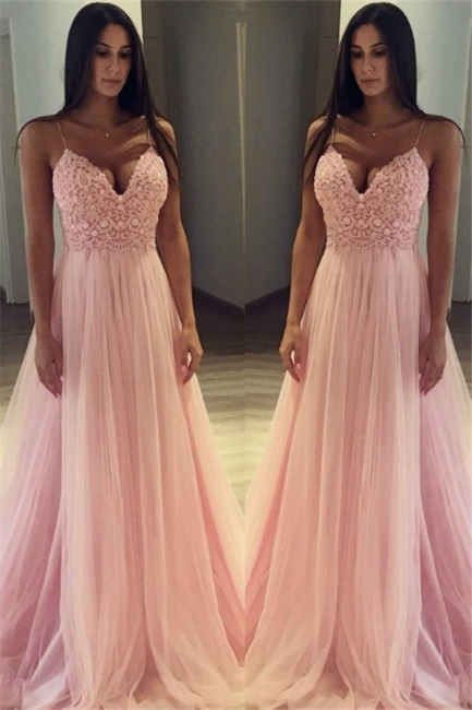 Pink Spaghetti Strap Applique Prom Dresses Sleeveless Tulle Cheap Sexy Evening Dresses
