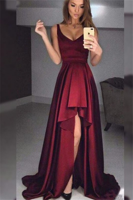 Burgundy V-Neck Ruffles Prom Dresses Hi-Lo Sleeveless Sexy Evening Dresses Cheap