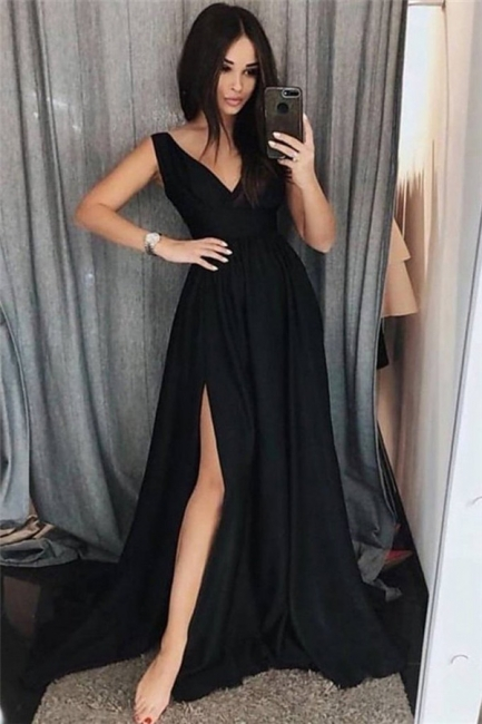Black V-Neck Prom Dresses Side slit Sleeveless Sexy Evening Dresses
