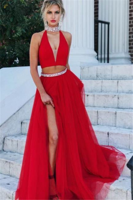 Red Crystal Halter Two Piece Prom Dresses Side slit A-Line Sleeveless Sexy Evening Dresses