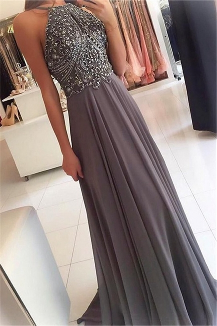 Chic Halter Applique Crystal Prom Dresses Sleeveless Cheap Sexy Evening Dresses with Beads
