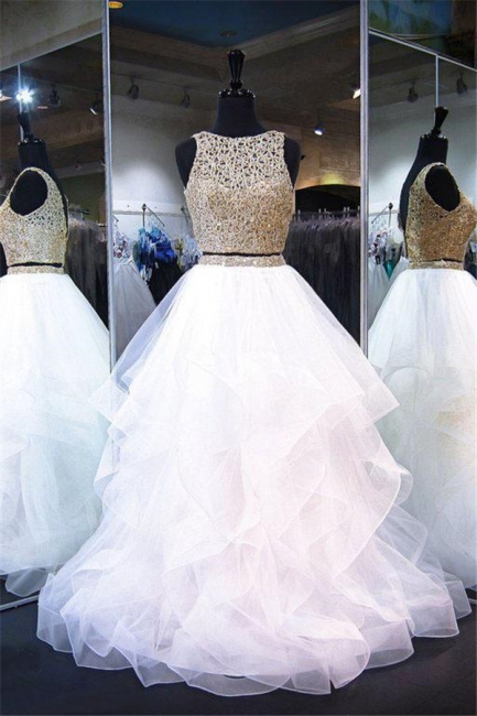 Lace Ruffle Ribbon Prom Dresses Tulle Cheap Sleeveless Sexy Evening Dresses
