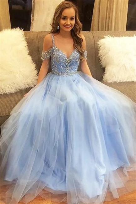 Chic Crystal SpagheetiStraps Prom Dresses Sheer  Sequins leeveless Sexy Evening Dresses