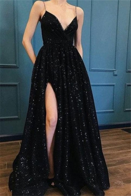 Spaghetti Strap Sequins Prom Dresses Sleeveless Side Slit Sexy Evening Dresses