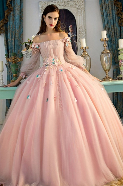 Glamorous Flower Off-The-Shoulder Applique Prom Dresses Lace-Up Ball Gown Longsleeves Sexy Evening Dresses