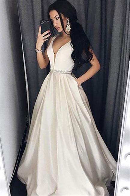 Chic V-Neck Belt Prom Dresses Sleeveless Sexy Evening Dresses with Pocket