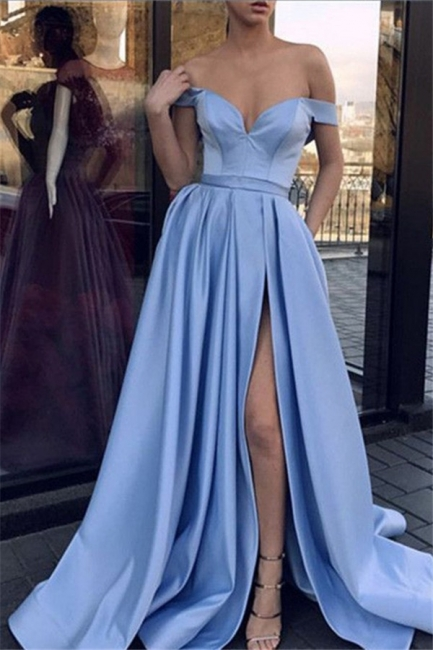 Chic Off-the-Shoulder Sleeveless Prom Dresses Side Slit Sexy Evening Dresses Cheap